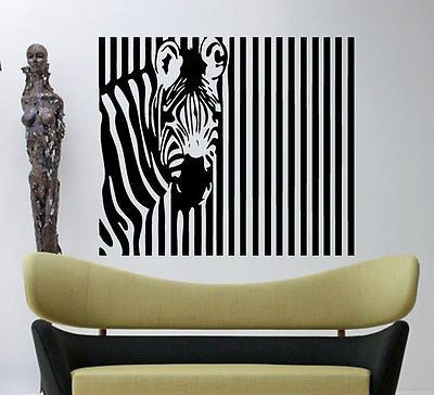 Zebra Pattern Stripes Barcode Zoo Animals Wall Decal Art Vinyl - Zebra stripe wall decals