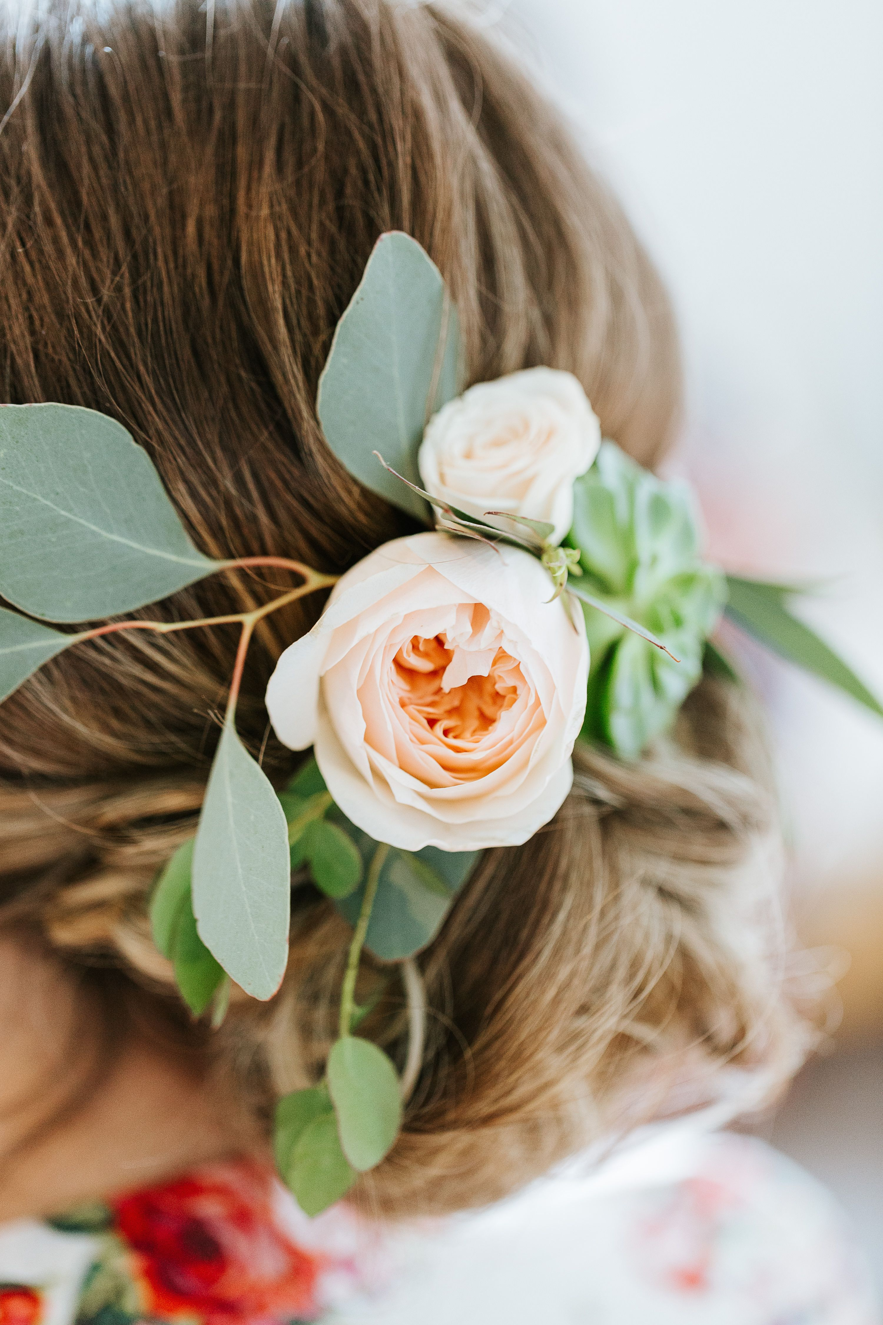 wedding hair up by amm hair and makeup team - fresh flowers