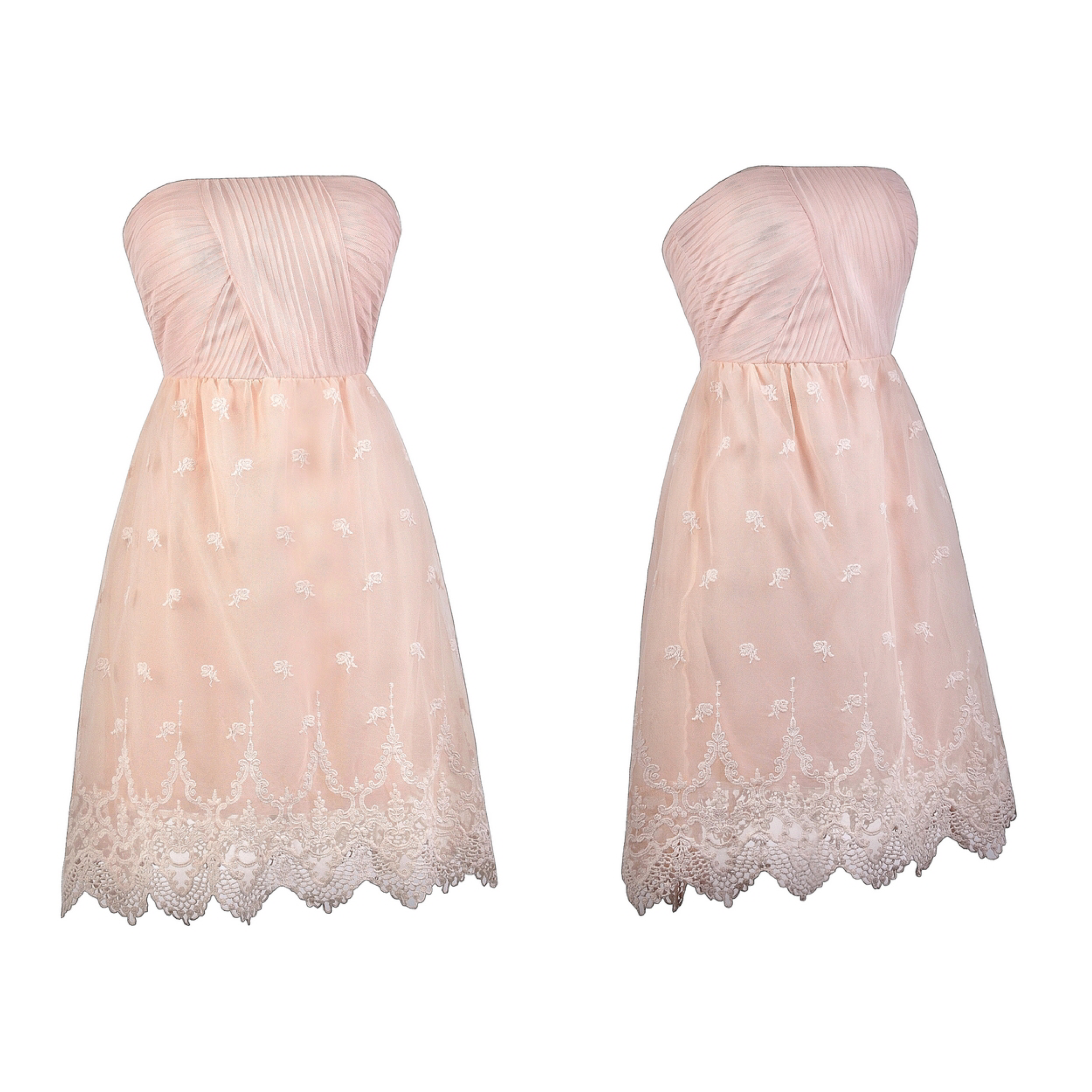 This pink strapless dress has embroidered designs on it: http://ss1 ...