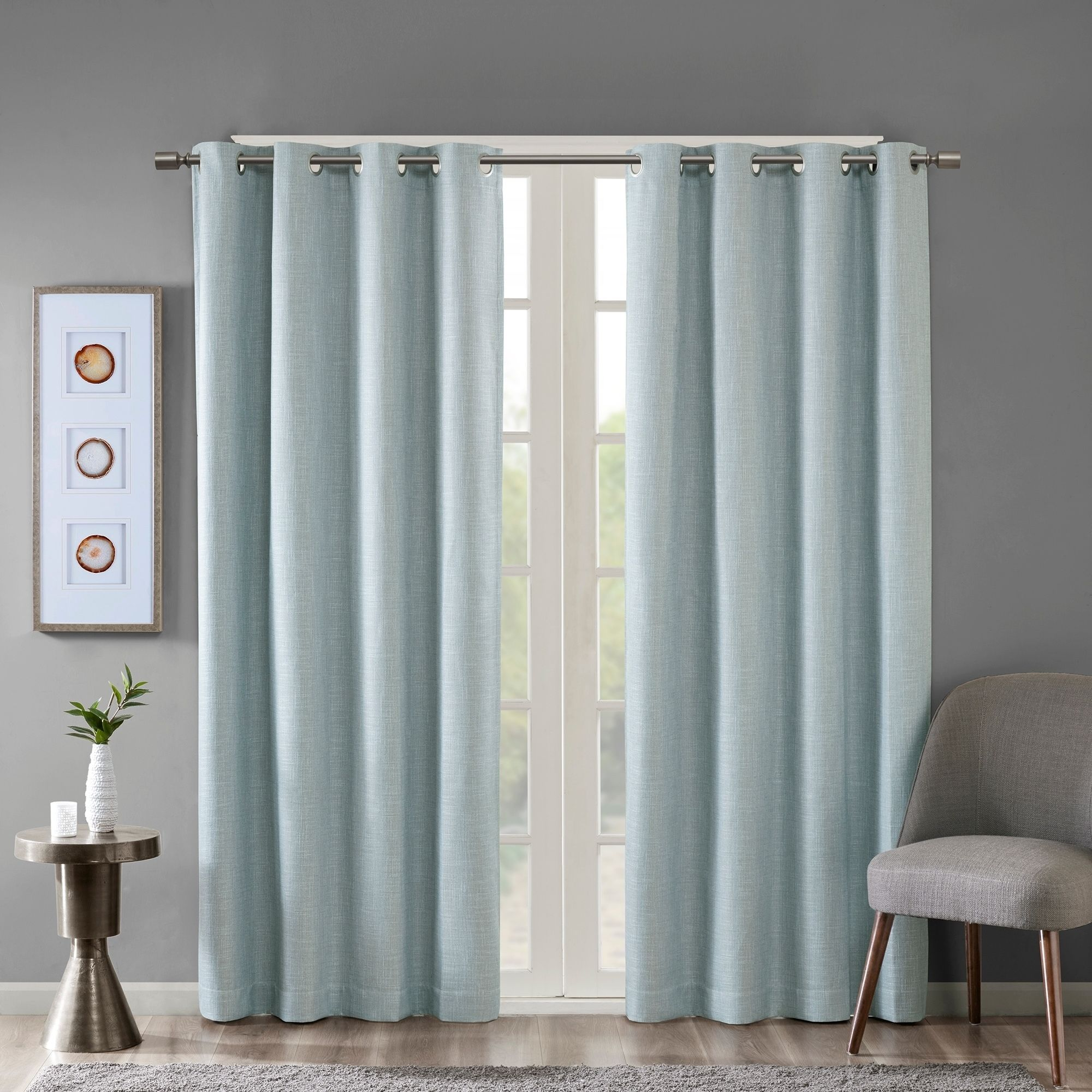 Sunsmart Arlie Printed Heathered Blackout Single Window Curtain Panel 4 Color Option 50 W X 95 L Grey Gray