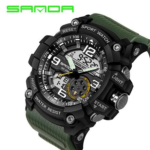 Item Type Quartz Wristwatches Feature Alarm Back Light Water Resistant Multiple Time Zone Chronograph Sh Digital Wrist Watch Mens Sport Watches Sport Watches