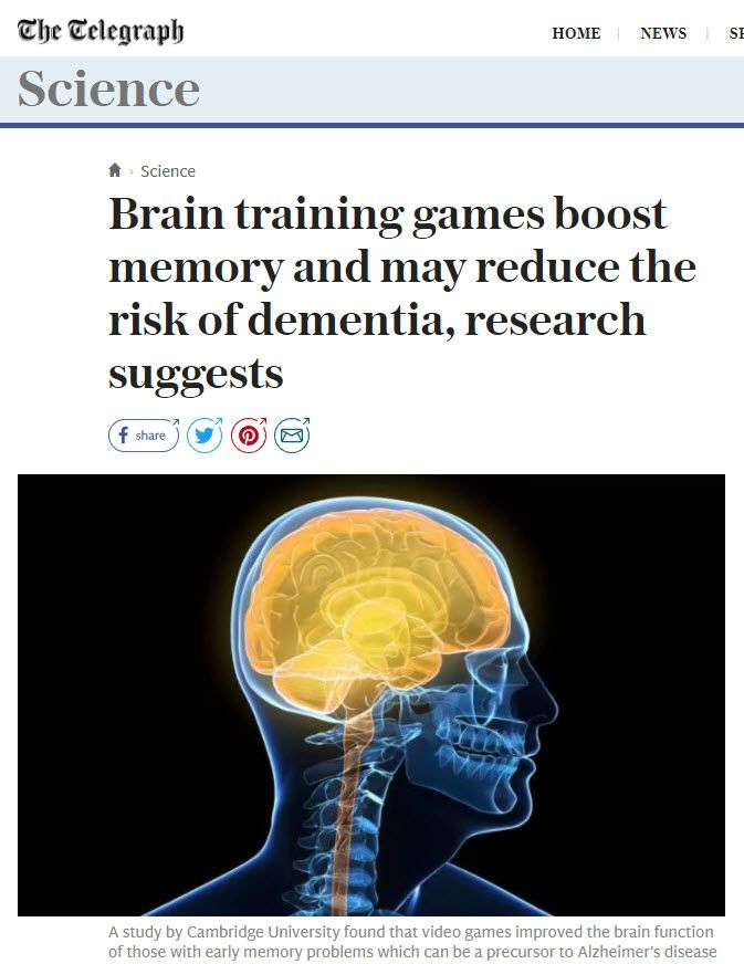 Cambs Study Shows Video Games Improve The Brain Function Of Those With Memory Problems A Precursor To Alzheimers