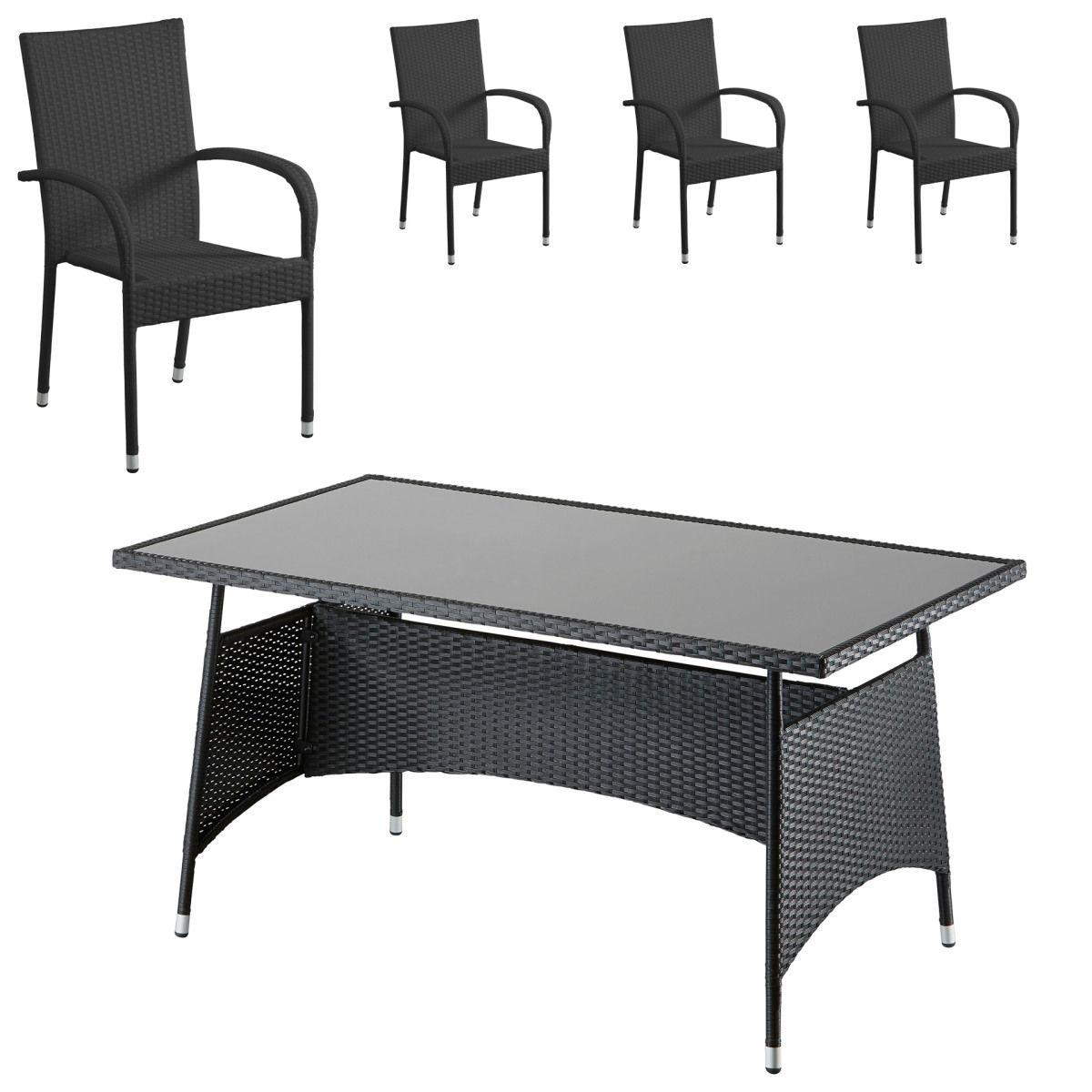 Gartenmöbel-Set Palermo (90x150, 4 Stühle, schwarz) Jetzt bestellen ...