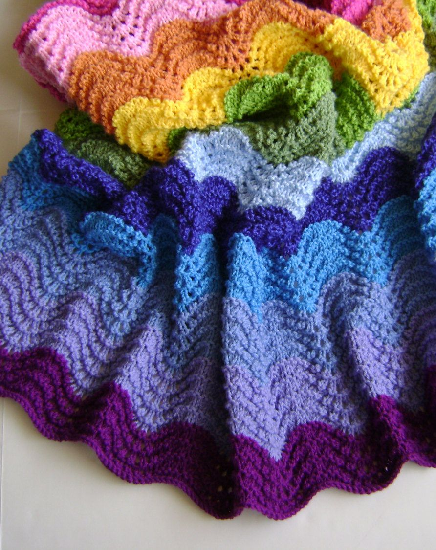 Knitting Pattern for Easy 4 Row Repeat Technicolor Waves Blanket ...