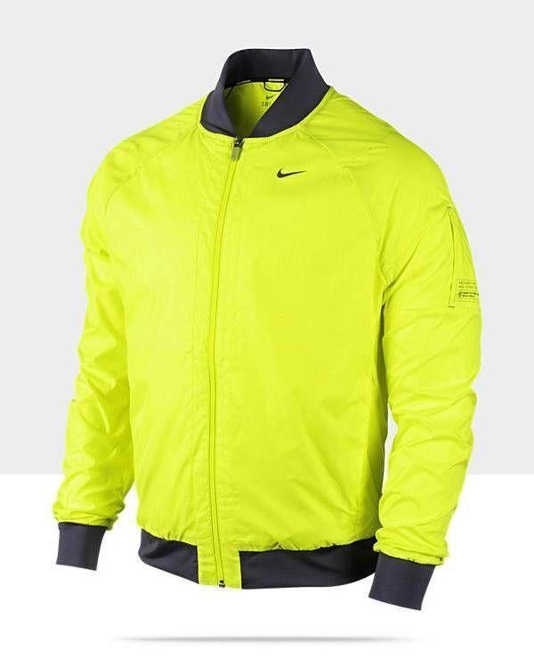 d1a500054da8 MEN S SIZE LARGE NIKE VOLT RUNNING JACKET DRI-FIT THERMAL BOMBER SPHERE  RAIN  Nike  Rainwear