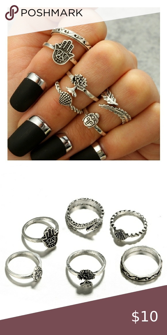 6 PC Boho Beach Knuckle Ring Set Silver