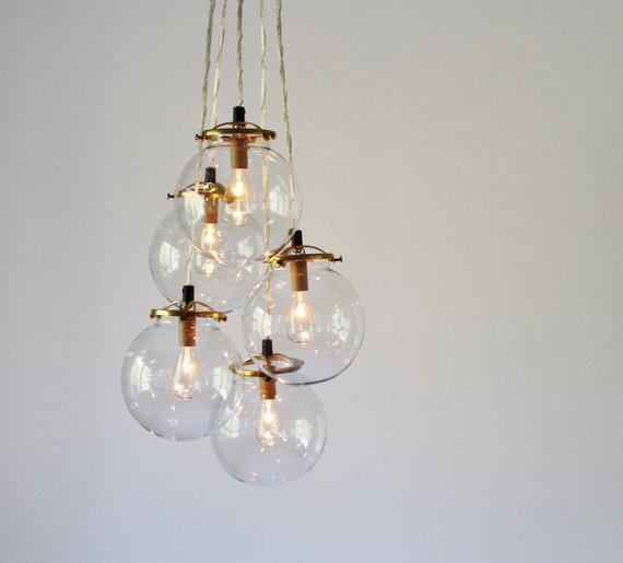 Globe Chandelier Lighting Fixture 5 Hanging Clear Glass Bubble Clustered Pendant Lights Modern Bootsngus Lighting Chandelier Lighting Fixtures Cluster Pendant Lighting Cluster Chandelier