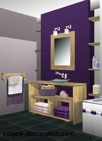 salle de bain noir blanc violet sur salle de bains bordeaux dcorations bain - Idee Deco Salle De Bain Noir Et Gris