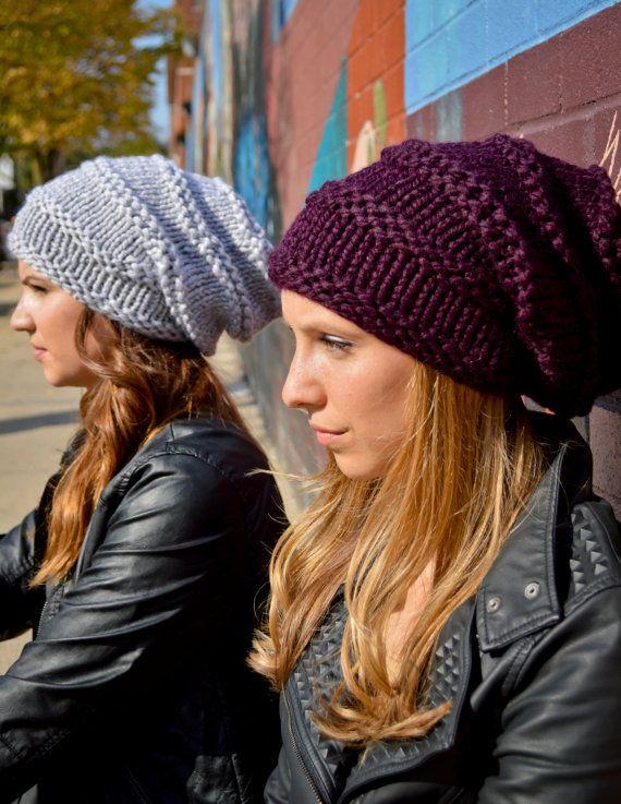 Punto Slouchy sombrero púrpura de TAM sombrero mujer Knit | Croachet ...