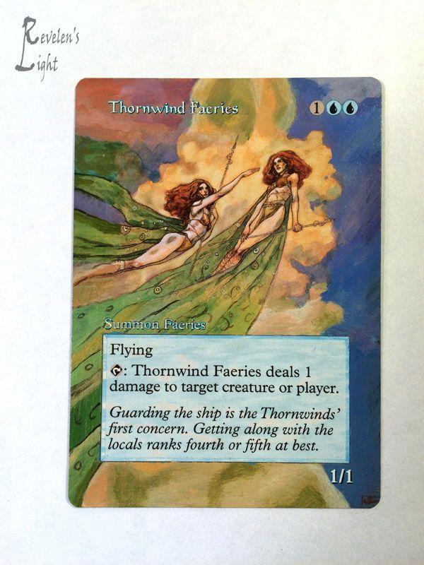 Thornwind Faeries - Full Art MTG Alter - Revelen's Light Altered Art Magic Card…