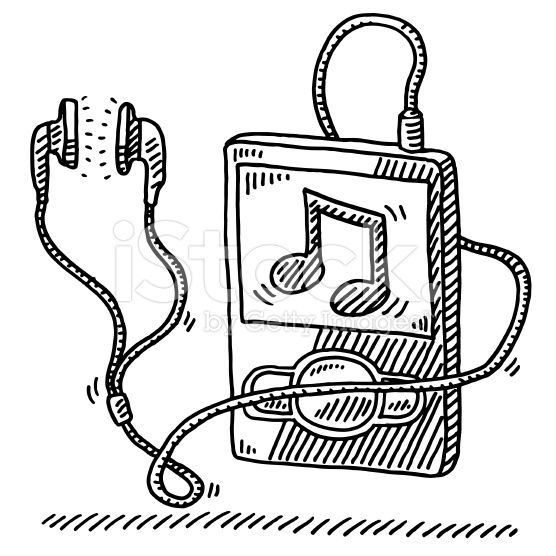 Hand Drawn Vector Drawing Of A Mp3 Player And Earphones A Music