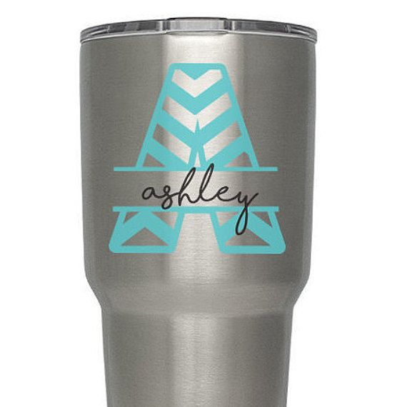 Check Out Chevron Initial Name Custom Decal Vinyl Sticker - Custom vinyl stickers for tumblers