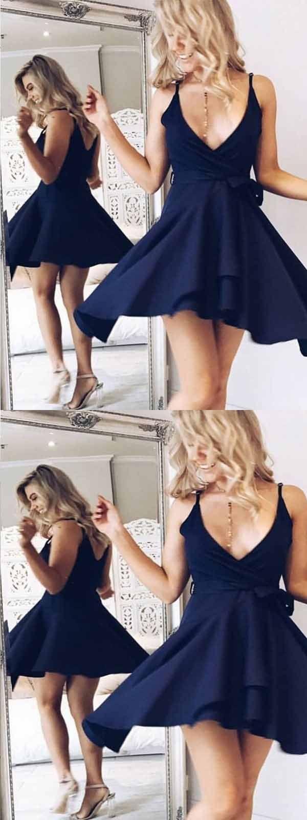 Aline vneck navy blue homecoming dress with sash short prom