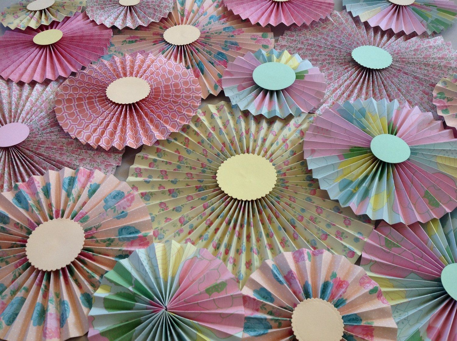 Paper rosettes / Pinwheels / Paper fans/ Wedding décor/ Centrepieces /light pink/ Set of 20 by MrsBowEventSupply on Etsy