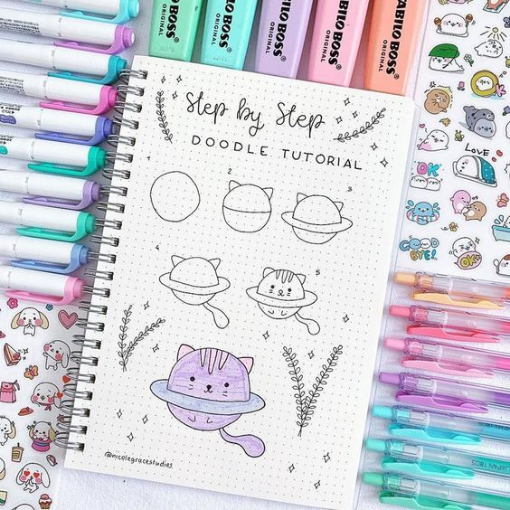 22 Simple Bullet Journal Doodle Tutorials For Beginners #journaling