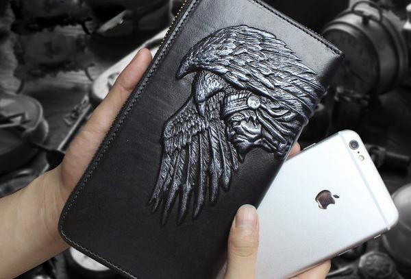 Handmade zip long wallet leather men Indian Cheif clutch phone wallet for men
