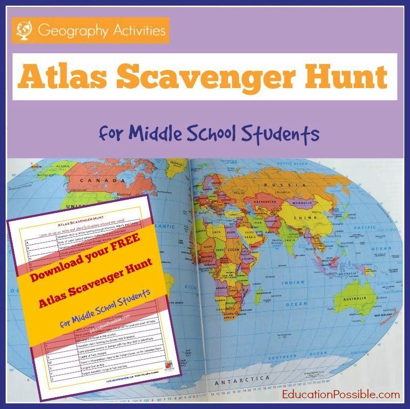 Atlas Scavenger Hunt Printable for Middle School Students FREE Atlas Scavenger Hunt Printable for Middle School StudentsFREE Atlas Scavenger Hunt Printable for Middle School Students