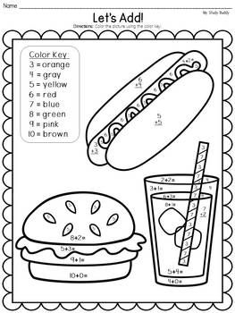Summer Activities: Color by Number Addition & Subtraction