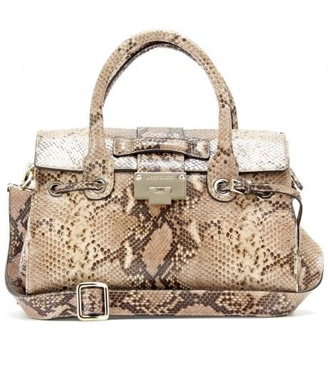 700a3aef1176 Jimmy Choo Brown Rosalie Snake Embossed Leather Shoulder Bag