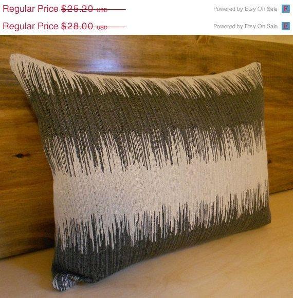 Decorative pillow cover, grey ikat striped lumbar pillow ...