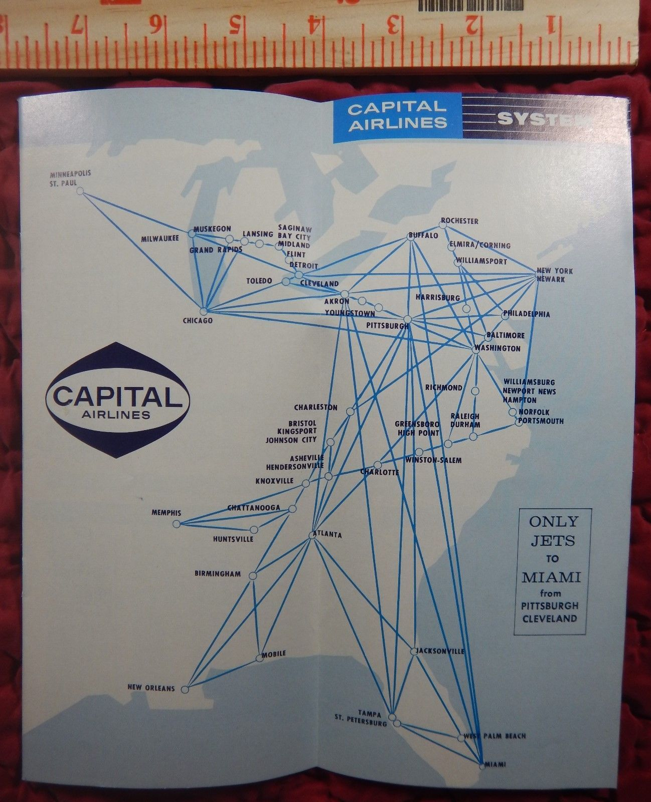 1961 Capital Airlines Timetable in 2019 Detroit news