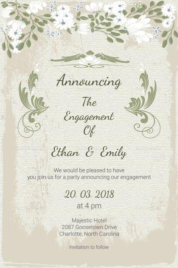 Vintage Engagement Announcement Card Template Engagement Announcement Cards Engagement Announcement Engagement Cards