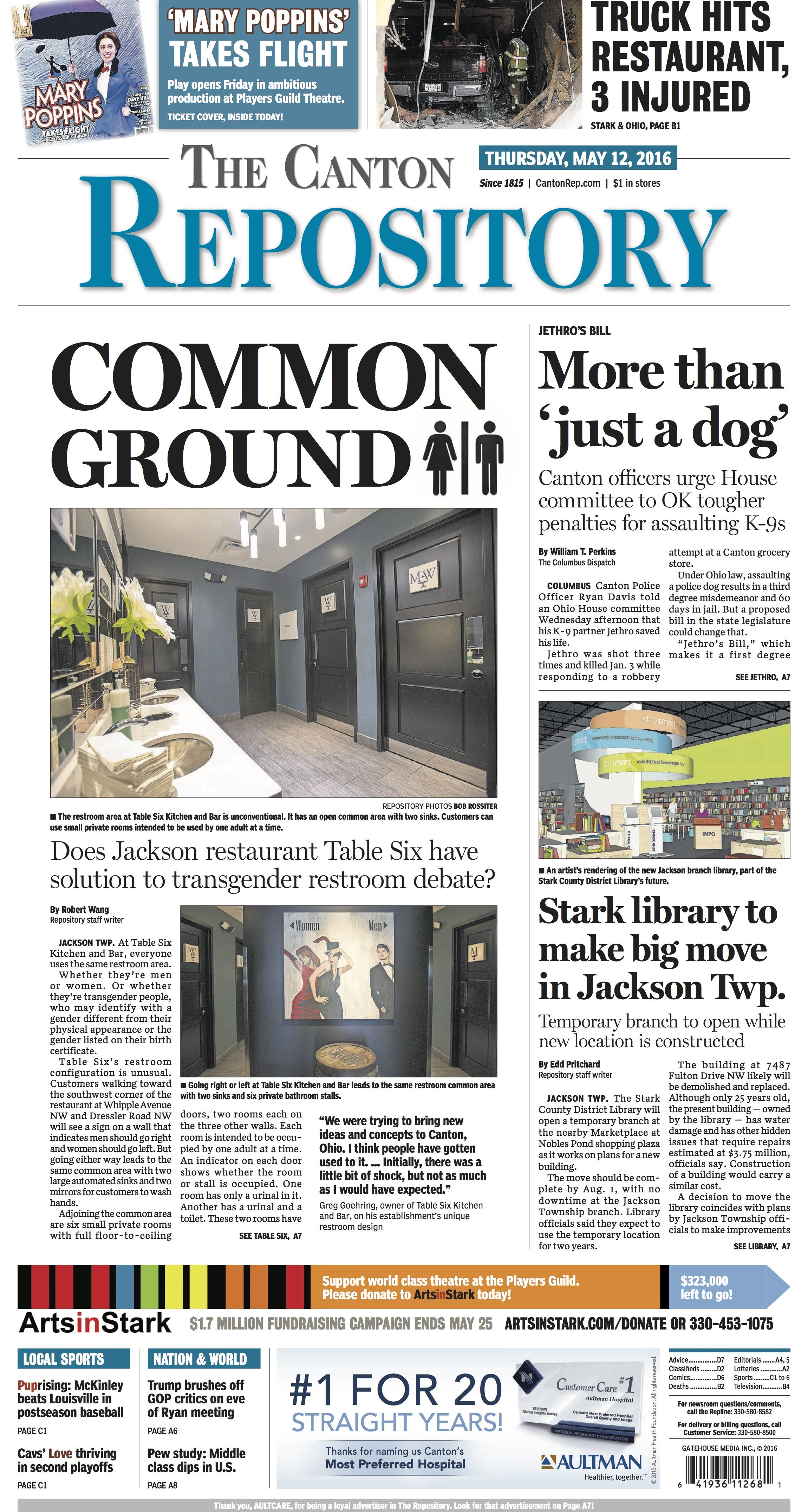 The front page of The Repository for May 12, 2016. Read more at cantonrep.com