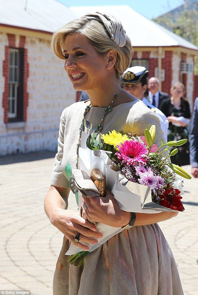 An ever-stylish Queen Maxima, 45, wore a soft beige dress by Dutch designer Mattijs van Bergen with pops of teal and gold for the occasion