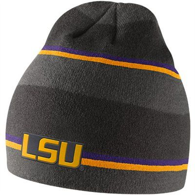 d79e19523d4 Nike LSU Tigers Anthracite Striped Knit Beanie - Charcoal Gold ...