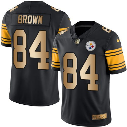 1bee1226627 Nike Steelers  84 Antonio Brown Black Men s Stitched NFL Limited Gold Rush  Jersey And  nfl jersey orlando