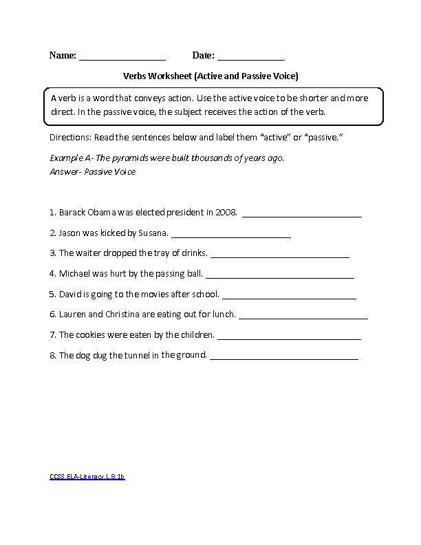 Verbs Active And Passive Ccssela Literacyl81b Language Worksheet