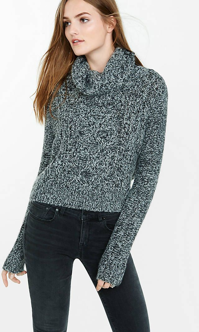 Marl Cowl Neck Cable Knit Sweater From Express Cable Knit Sweaters Sweaters For Women Cable Knit