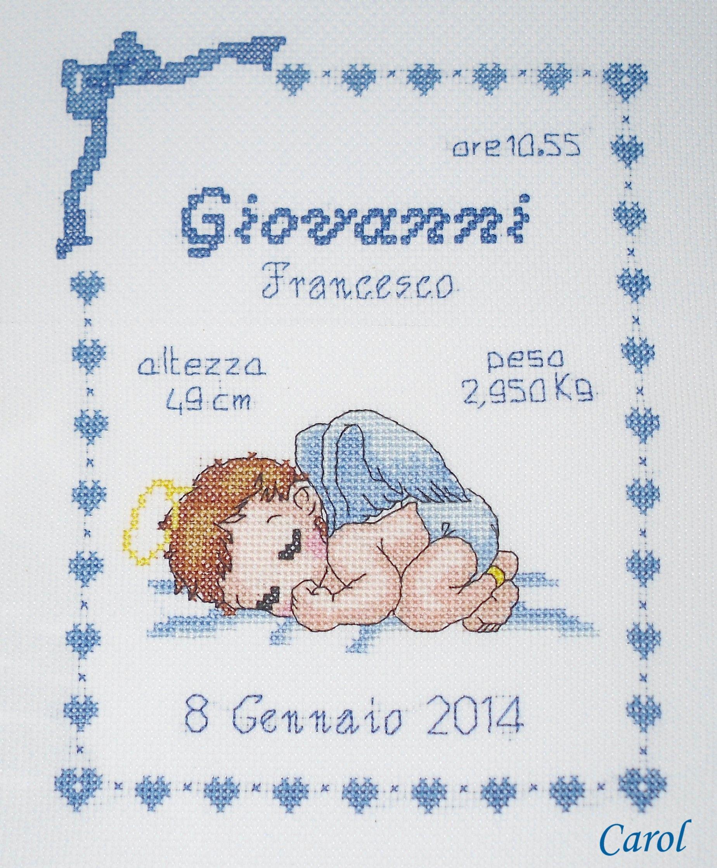Quadretto nascita angioletto motivi punto croce punto for Quadretto nascita punto croce