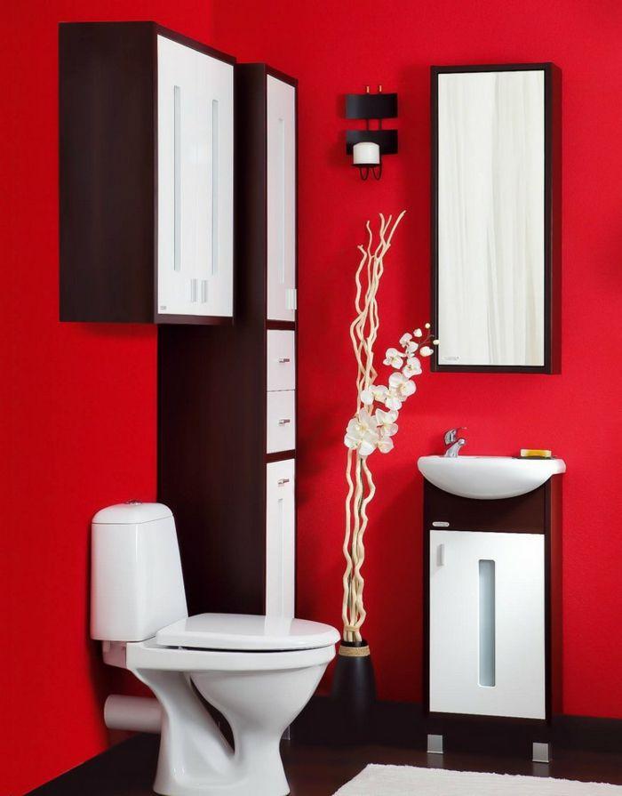 Baños Pequeños Diseño | Banos Pequenos Rojo Brillante Estilo Minimalista Armarios