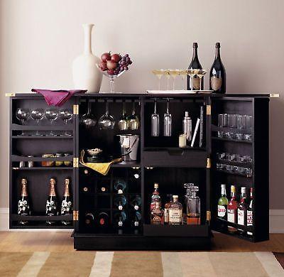 New Steamer Folding Wine Liquor Bar Cabinet In Black Liquor