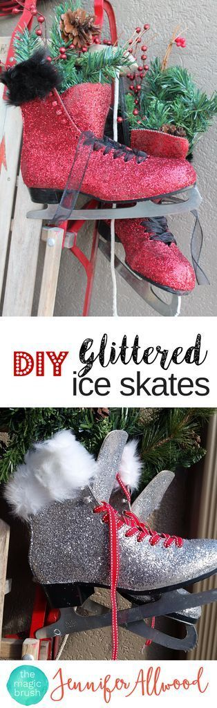 DIy Christmas Decor Glittered Ice Skates and decorated sled | Magic Brush | This easy winter decor project makes a good craftnight / Girls Night Out #diy #christmas #glitter