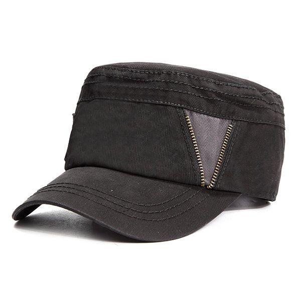 Men Vintage Zipper Cotton Military Cap Outdoor Casual Breathable Flat Top Hat Military Cap Vintage Men Flat Top Hats
