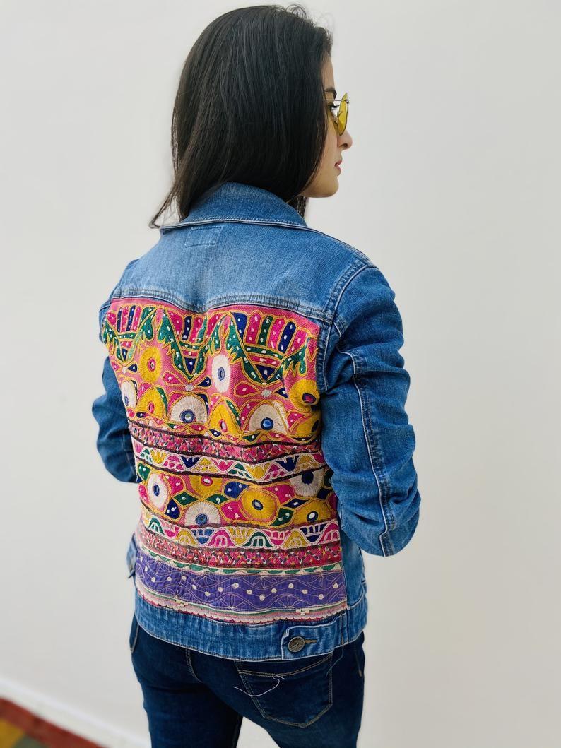 Patchwork Denim Jacket Embroidered Jean Jacket Boho Unique Etsy In 2021 Embellished Jacket Denim Jacket Embellished Denim Jacket [ 1059 x 794 Pixel ]