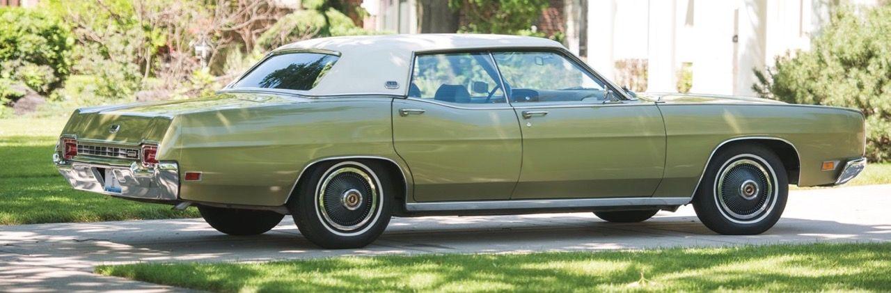 1970 Ford LTD 4DR H.T. Sedan, Lime Gold, with White Padded Vinyl ...