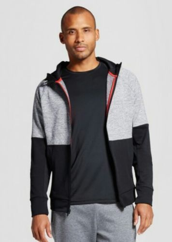 C9 by Champions Mens Heathered Gray Activewear Hooded Zippered Running Jacket