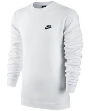 Nike Men's Crewneck Fleece Sweatshirt White 2XL | Nike men