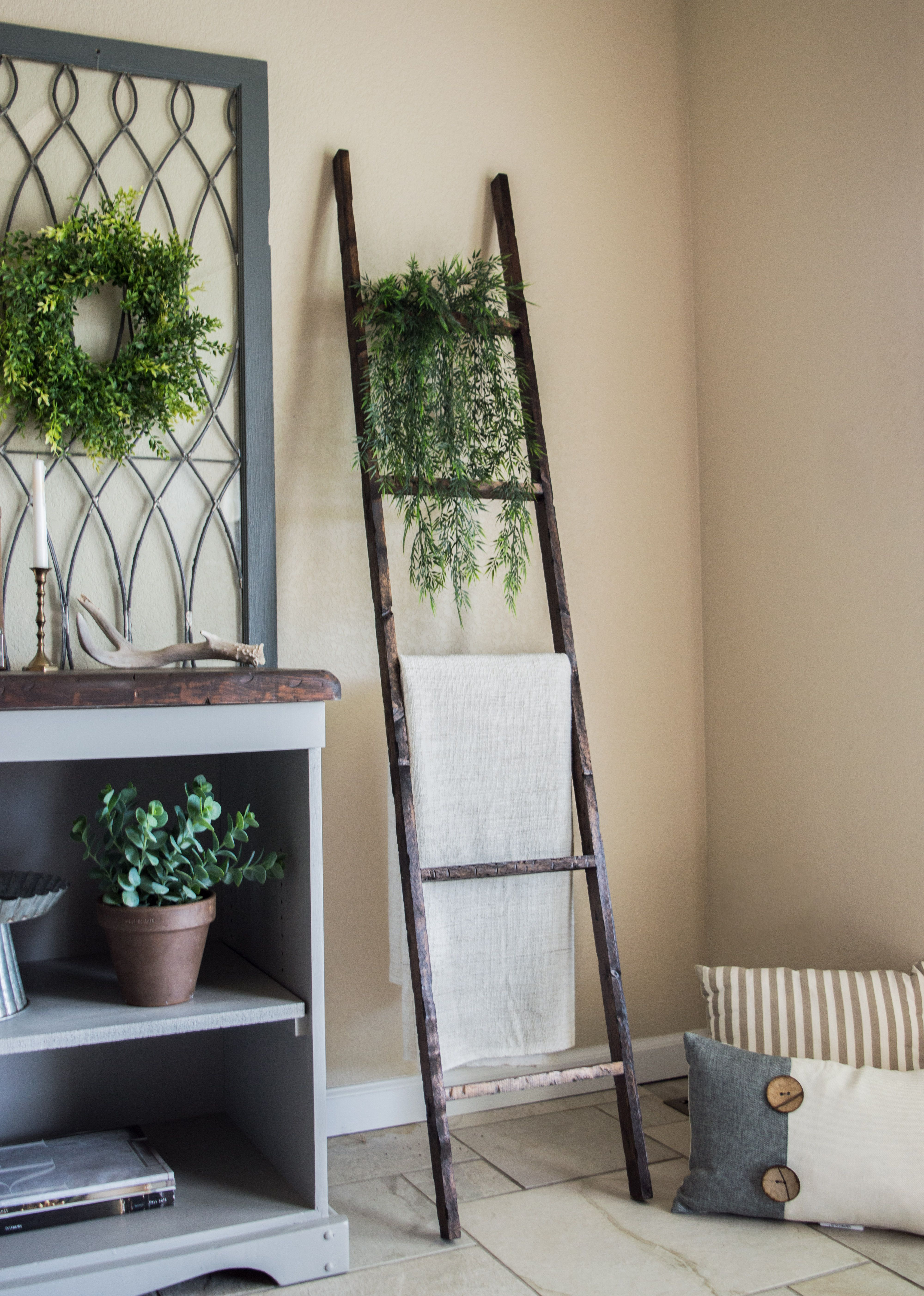 Rustic Wooden Ladder Home Decor