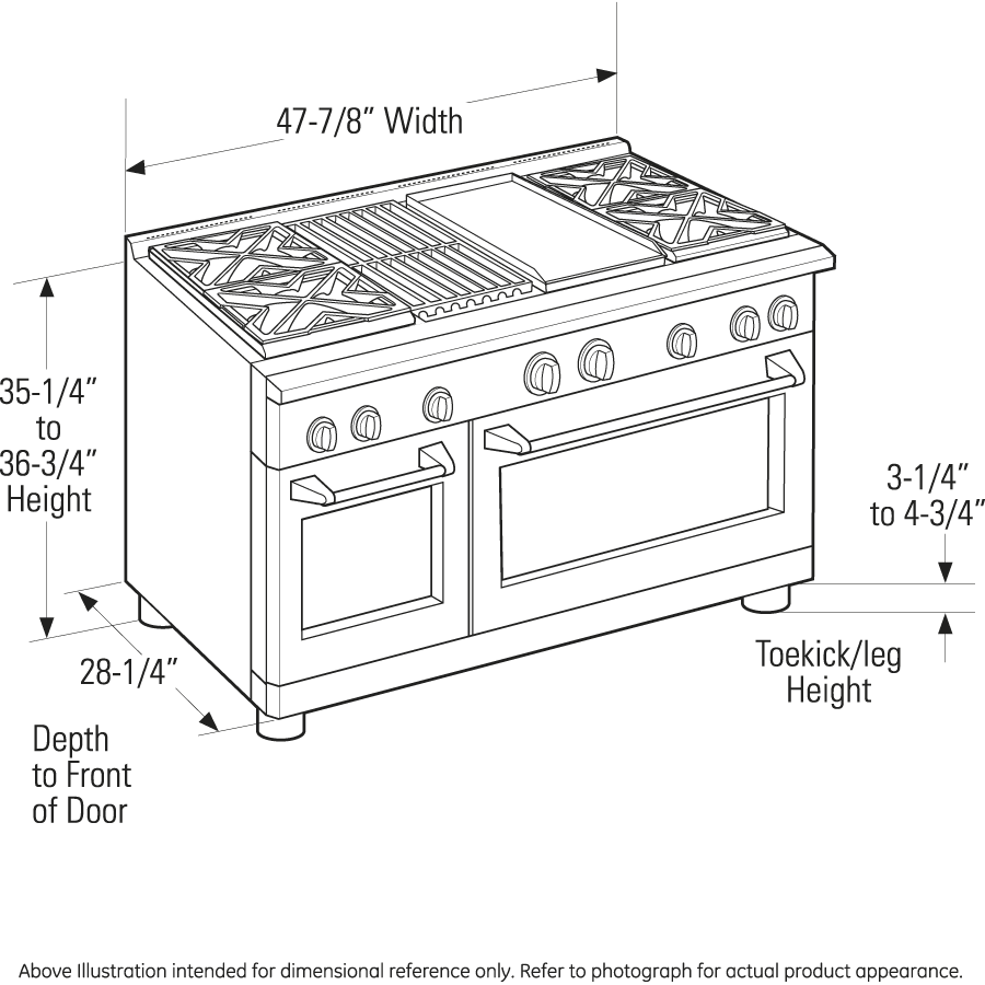 """Industrial Kitchen Dimensions: 48"""" Dual Fuel Range With 4 Burners, Grill, And Griddle"""