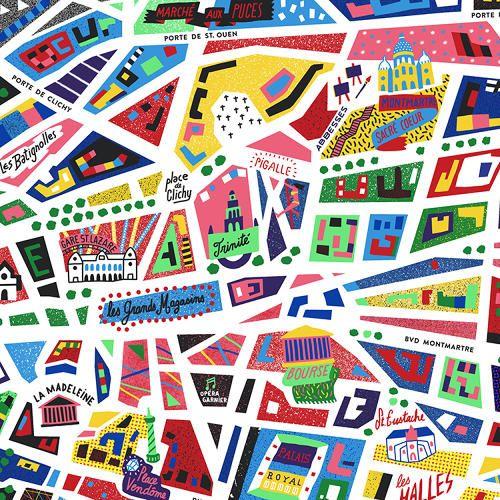 An Awesome Neon Map Of Paris Paris Map Map Design Illustration