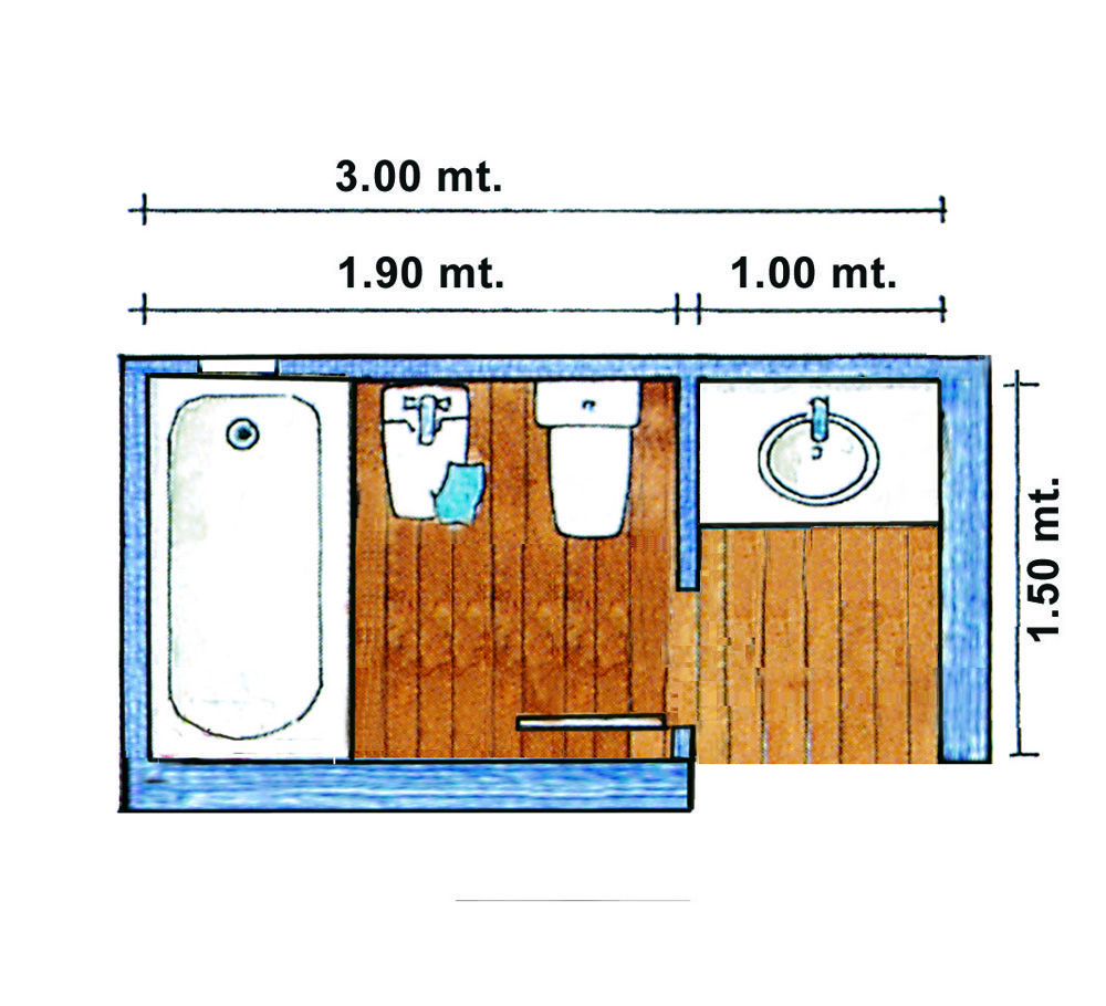 Dos compartimentos con medidas mínimas. Este baño permite ...