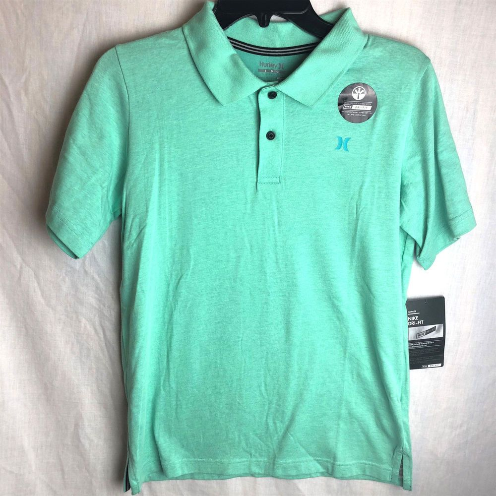 ea2fd0f5e6009 Hurley Boys Nike DriFit Lagos Polo Shirt Large Green Glow New ...