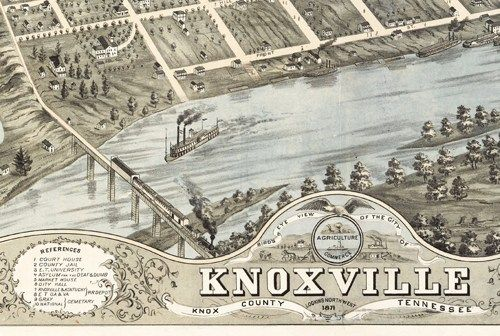 Knoxville TN old maps Birdseye View Vintage Map of Knoxville Knox