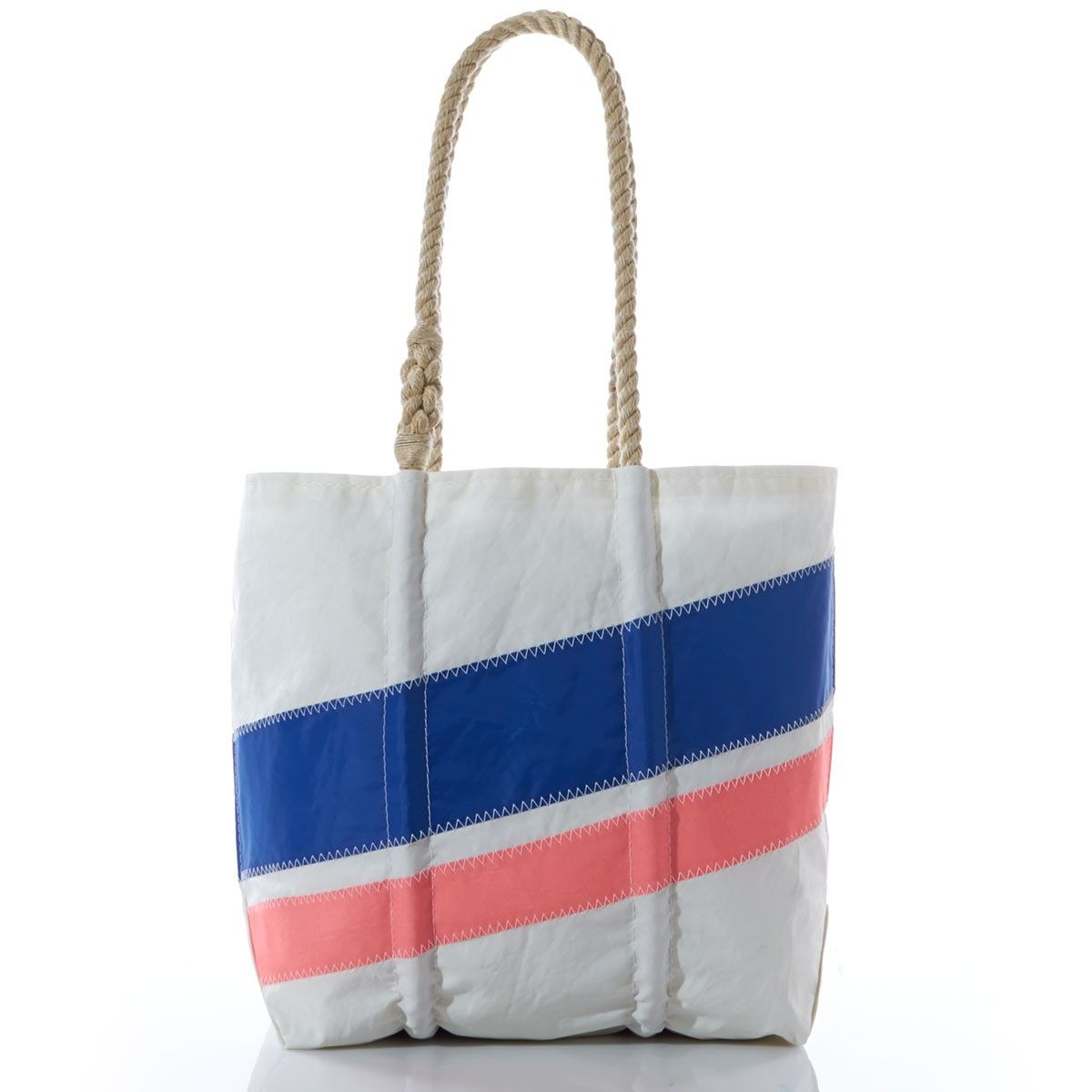 Medium Royal and Coral Diagonal Stripe Tote - Hand Crafted from Recycled Sails.