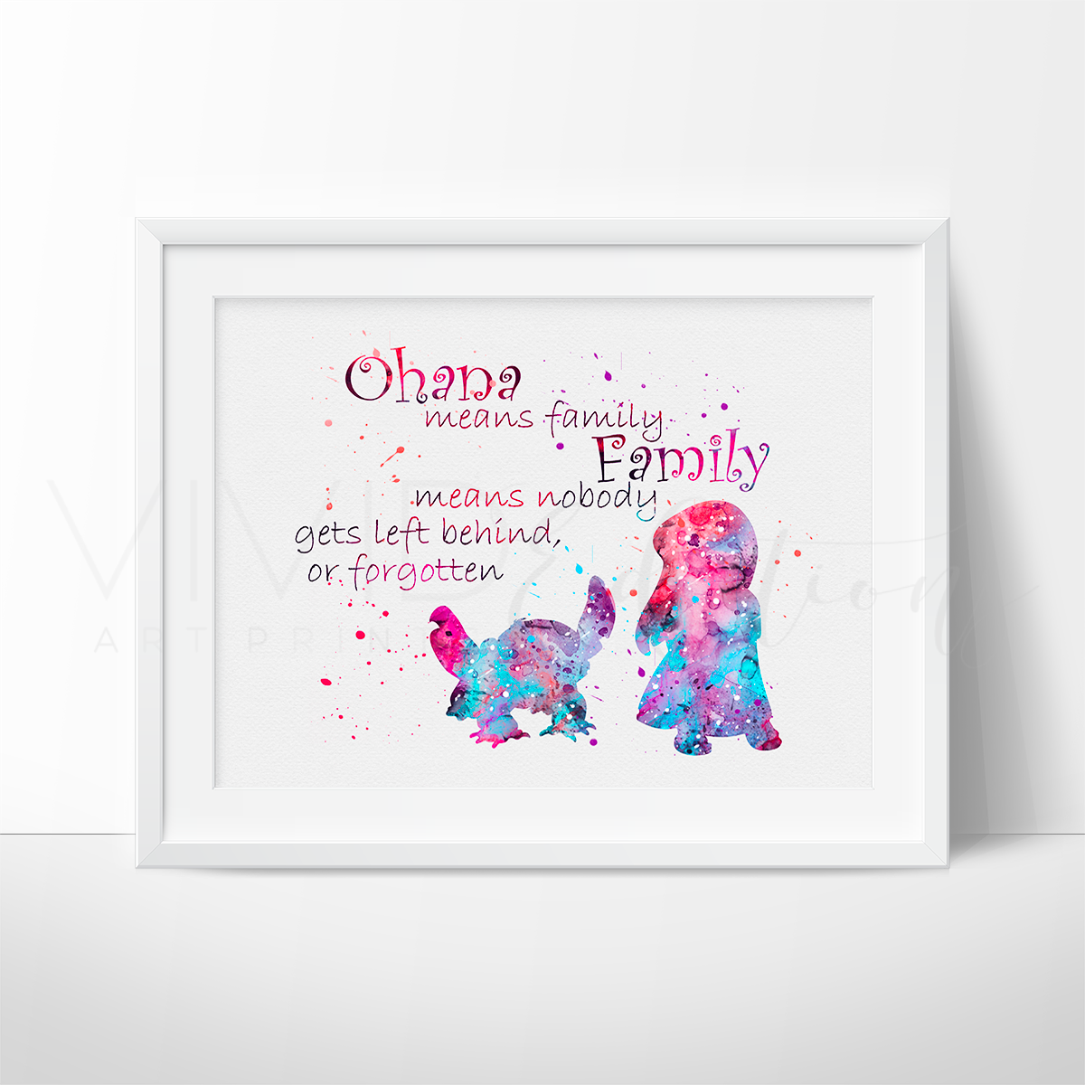 Lilo & Stitch Quote 2 Watercolor Art Print | Sprüche und Bilder