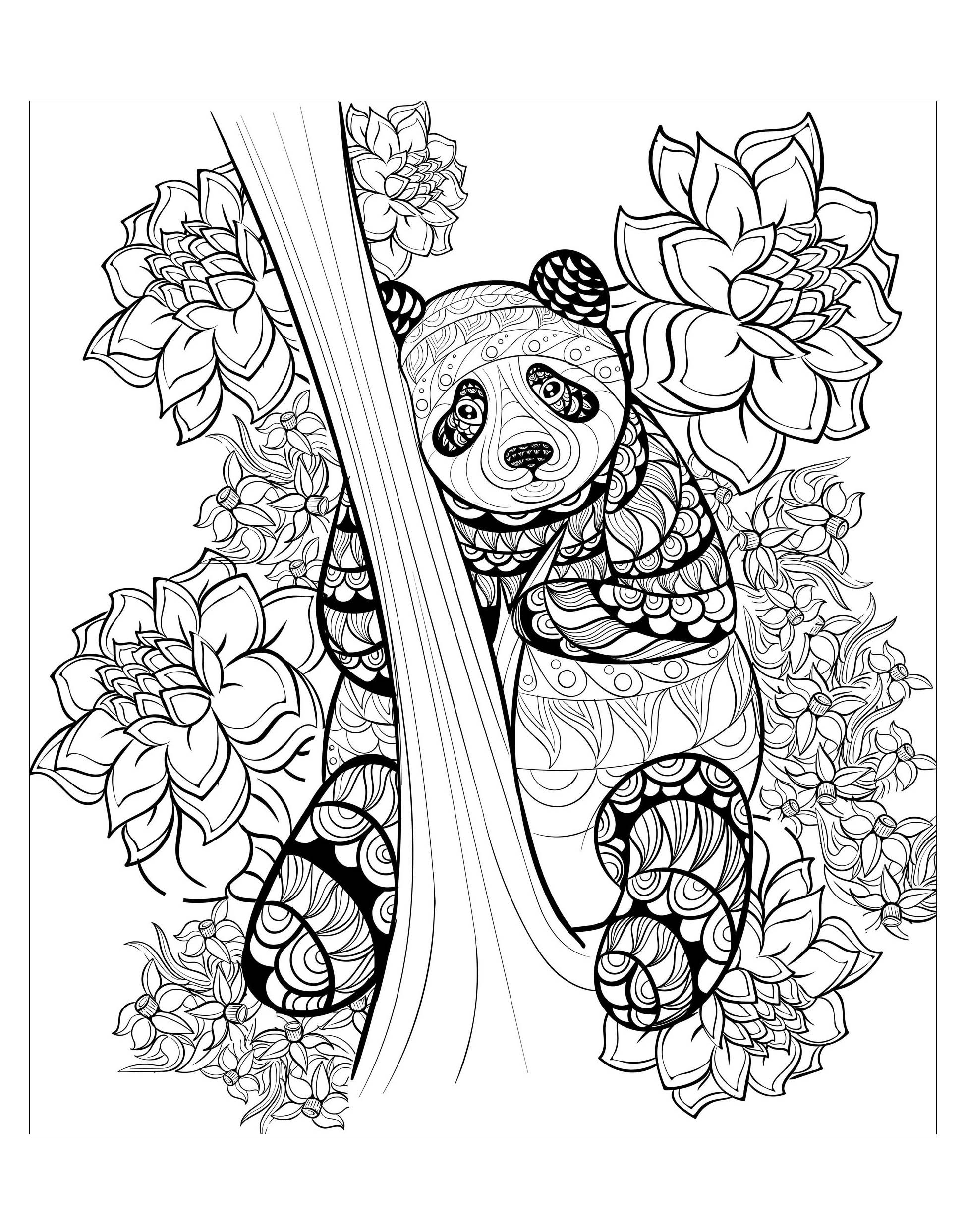Panda By Alfadanz Hand Drawn Ink Pattern Of A Panda From The Gallery Pandas Artist Al In 2021 Animal Coloring Pages Mandala Coloring Pages Panda Coloring Pages